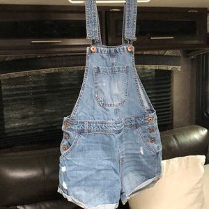 Washed out jean overalls